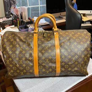 Louis Vuitton Kepall 55 bandolier 2 ways bag mono